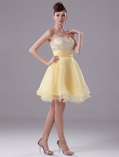 Organza Prom Dress Sweatheart Beading Satin Pleated Knee-Length A-Line Cocktail Dress фото