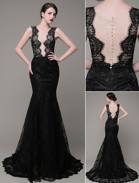 Mermaid Evening Dress V-Neck Lace Illusion Backless Court Train Celebration Dress Milanoo фото