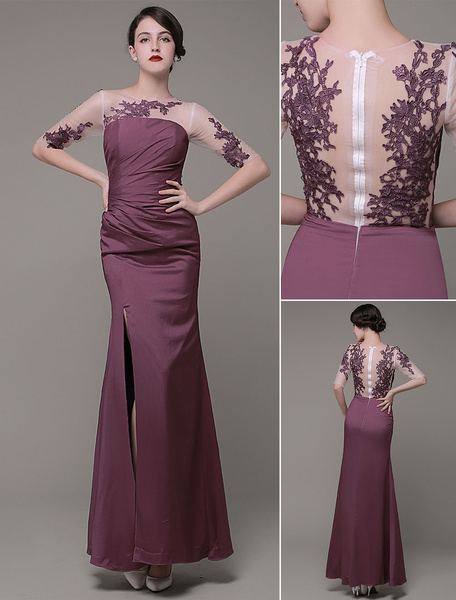 Long Evening Dress Tulle Jewel Lace Applique Satin Pleated Ankle Length Prom Dress Milanoo фото