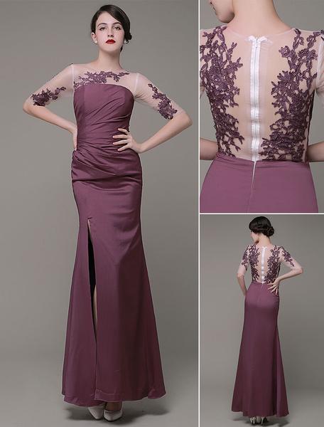 Robe de soirée longue Tulle Jewel dentelle appliques Satin plissé cheville longueur robe de bal Mila