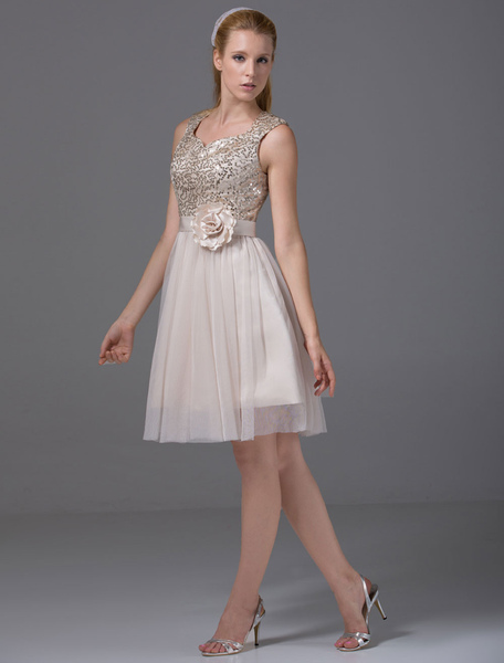 Short Homecoming Dress Sweatheart Sequined Tulle Pleated A-Line Knee-Length Cocktail Dress With Sash Milanoo