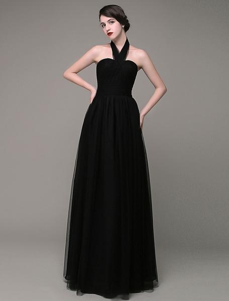 Black Evening Dress  Halter Neckline A-line Tulle Pleated Floor Length Party dress Milanoo