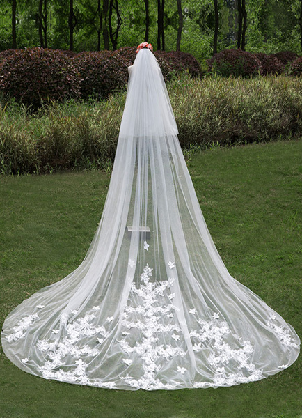 Cathedral Wedding Veils Waterfall Two-Tier Lace Cut Edge Veils With Comb(300cm Length) фото