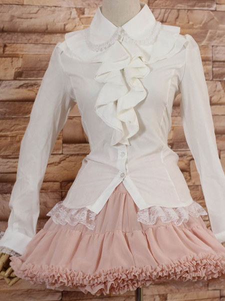 White Long Sleeves Lolita Blouse with Lapel and Ruffles фото