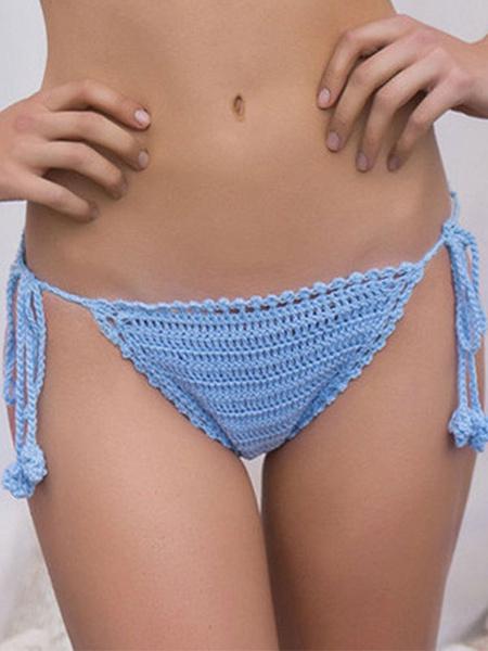 Blue Crochet Swimming Trunks Cut Out Polyester Swimwear for Women фото