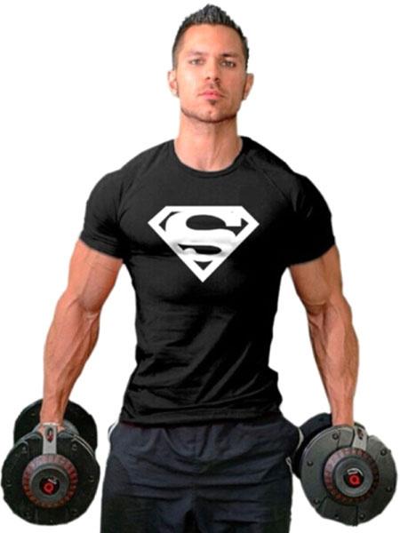 Black Superman Print T-Shirt Cotton Slim Fit T-Shirt for Men фото