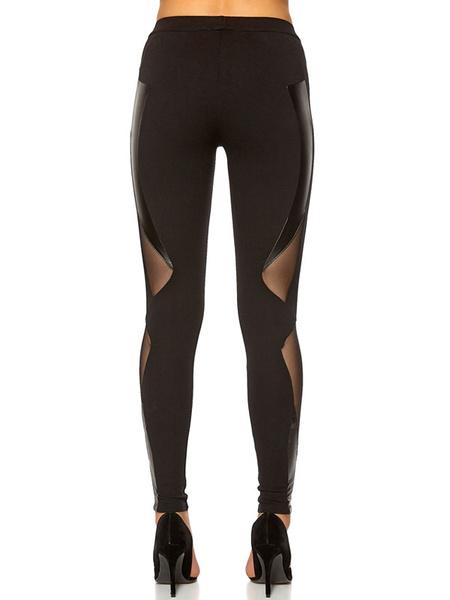 Black Mesh Cut Out Pants Skinny Polyester Women's Pants фото