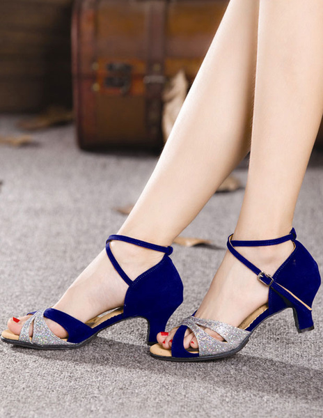 Blue Latin Dance Sandals Straps Ballroom Heels for Women