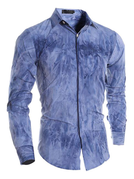 Print Deep Blue Men's Cotton Slim Fit Shirt фото