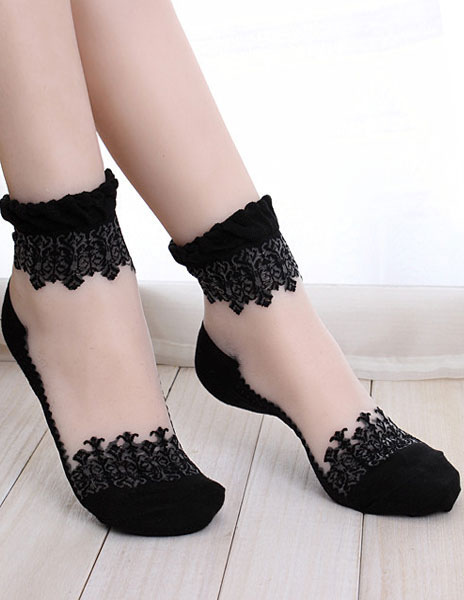 Black Knitting Wool Chic Dance Socks фото