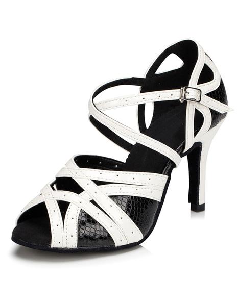 Black Peep Toe Latin Dance Sandals for Women фото