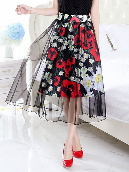 Stylish Layered Floral Print Tulle Women's Skirt