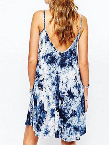Milanoo / Vestidos de las mujeres azul cuello redondo Slim Fit azul verano vestido