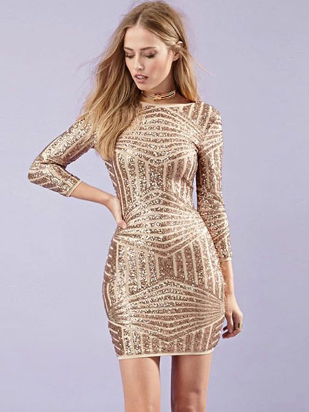 Gold Geometric Backless Polyester Woman's Short Dress фото