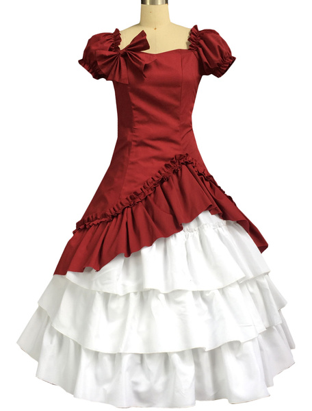 Elegant Cotton Dark Red and White Lolita One-piece Dress Short Sleeves Layered Ruffles Bow Lace Up фото