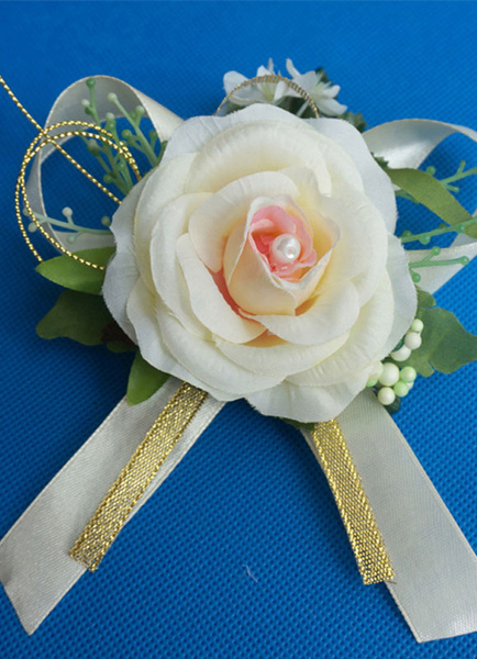 Camellia Wedding Boutonniere With Ribbon Decoration