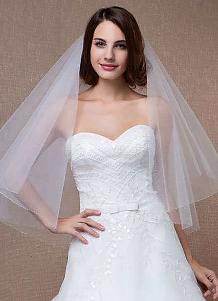 Elow Wedding Veils Beaded Edge Oval Two-Tiered Tulle Veil With Comb(150*150cm)