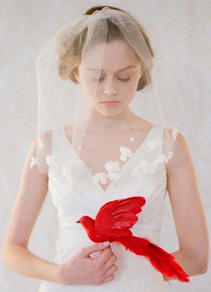 O blush véus de uma camada de tule casamento da aresta de Corte de casamento clássico véus de Noiva com Flor(3