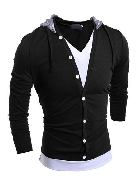 Men's Casual Hoodie Fake Two Pieces Hooded Sweatshirt фото