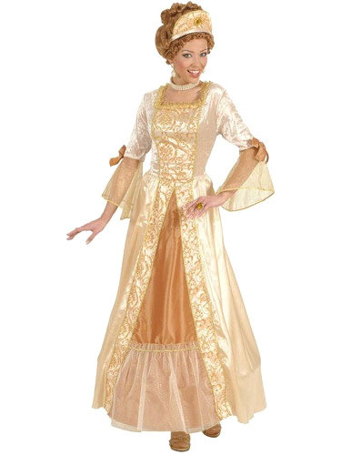 Halloween Renaissance Dress Gold Bow Polyester Medival Costume Cosplay фото