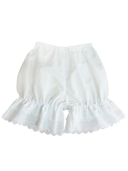 Sweet White Cotton Lolita Short Bloomer Hollow Trim фото