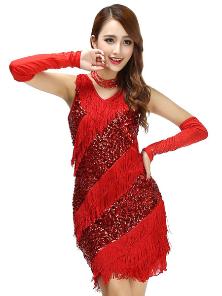 V Neck Adult Strap Polyester Latin Dance Costume Sequined Dance Dress фото