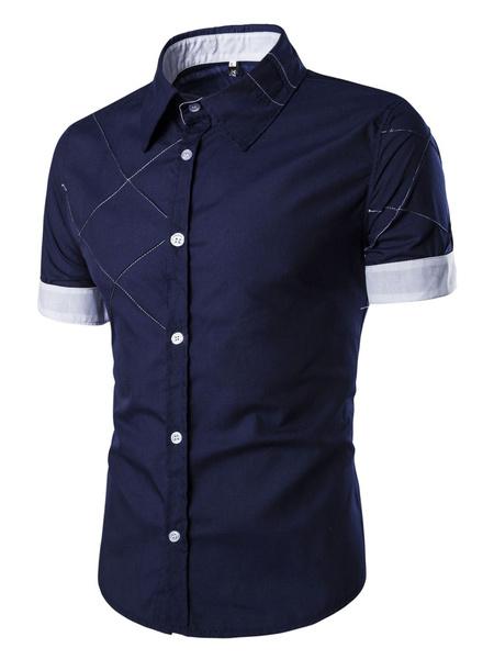 Herren Kurzarm Hemd mit Kontrast-Manschette und Saum