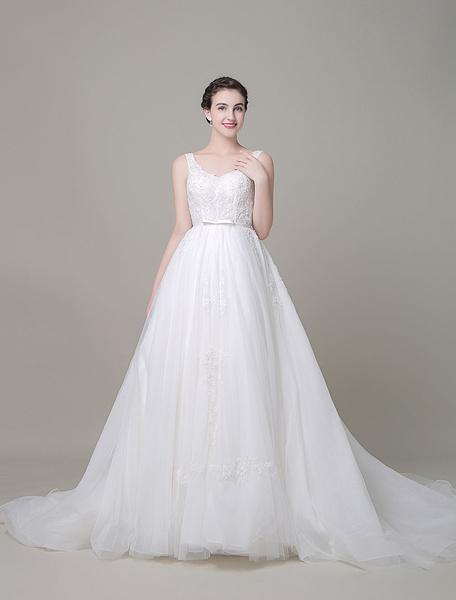 Organza mariage robe a-ligne Sweetheart dentelle Chaple Train robe de mariée avec Bow Satin