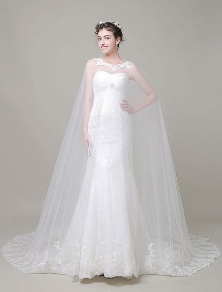 Купить со скидкой Weiße Hochzeit Wraps Jewel Spitze Applique Braut Schal