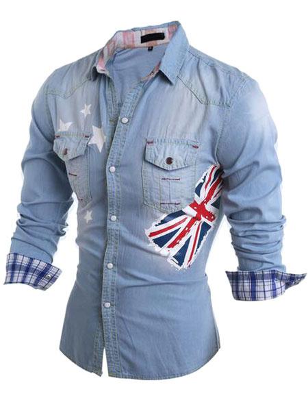 Men's Slim Casual Blue Denim Shirt With Flag Print фото