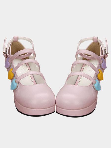 Pink Lolita Chunky Heels Shoes Heart Shape Decor Ankle Strap Round Toe фото