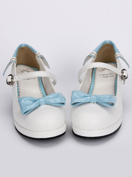 White Lolita Chunky Heels Shoes Blue Bows Round Buckle Ankle Strap Milanoo