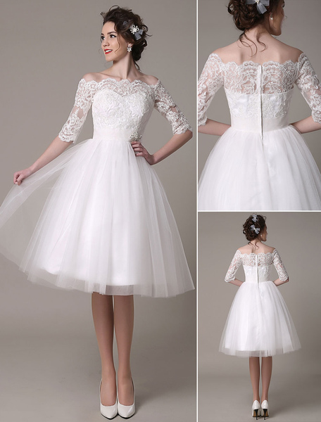 Lace Wedding Dress A-Line Knee Length Waist Rhinestone Bridal Dress Milanoo фото