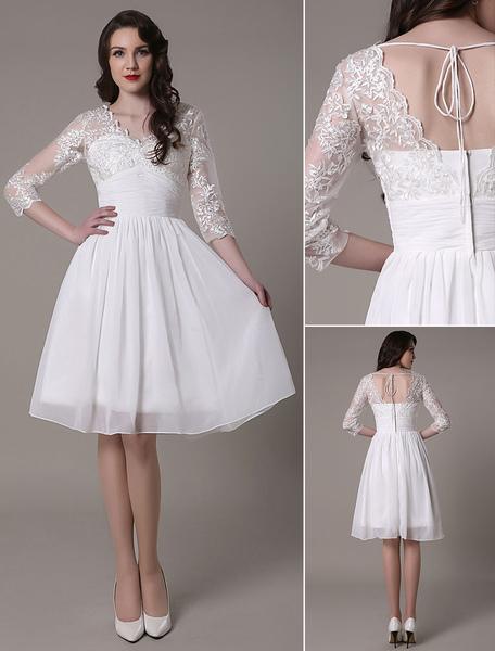 Knee-Length Wedding Dress V-Neck Lace A-Line Chiffon Pleated Bridal Dress Milanoo