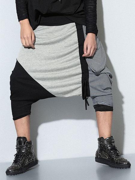 Color Block Harem Drop Crotch Dance Pants For Men фото