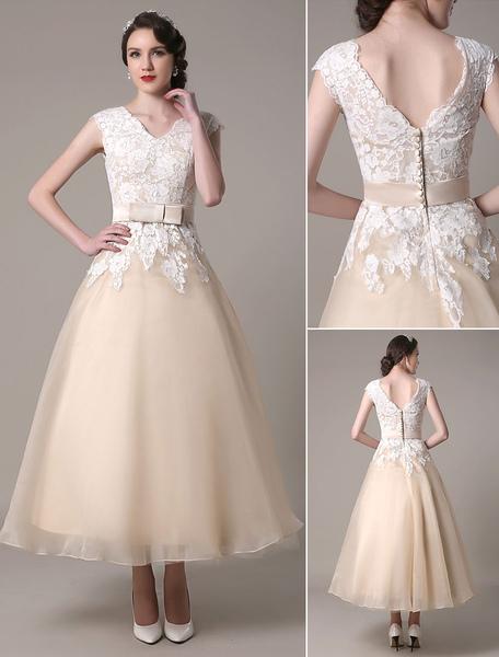 Champagne Wedding Dress A-Line V-Neck Lace Applique Organza Tea Length Bridal Dress With Sash Bow Mi фото