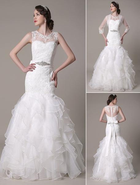 Mermaid Wedding Dress Jewel Lace Applique Organza Tiered Bow Floor Length Bridal Dress With Rhinesto фото