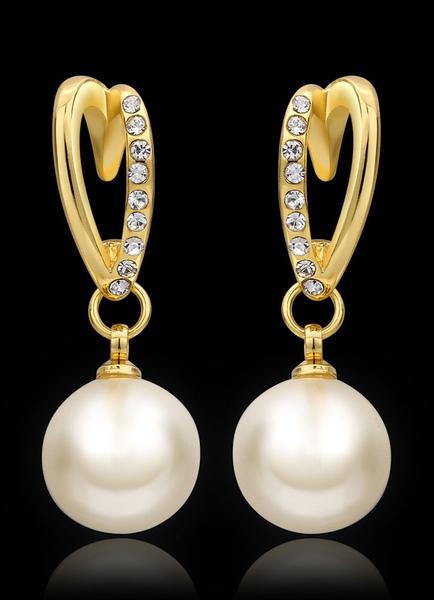 Pearls Bridal Earrdings Gold Rhinestone Wedding Jewelry фото
