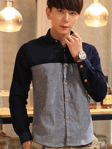 Causal Shirt For Men In Navy/Gray Color Block фото