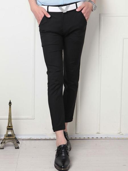Black/Burgundy Cropped Pants For Men Slim Trousers фото