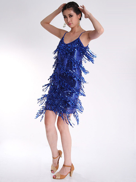 Latin Dance Dress Tassel Sequined Dance Costume фото
