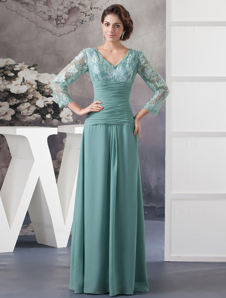 Lace Mother Of The Bride Dress A-Line Floor-Length Chiffon Pleated V-Neck Long Sleeves Evening Dress
