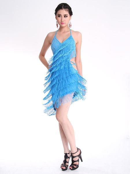 Latin Dance Dress Backless Tassel Costume фото