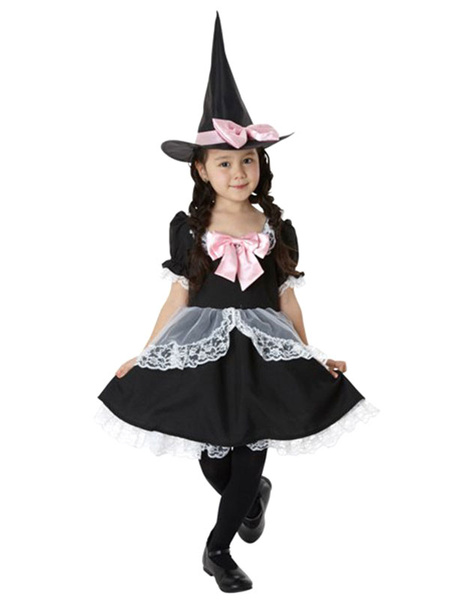 Halloween Black Witch Costume with Bow for Kid фото