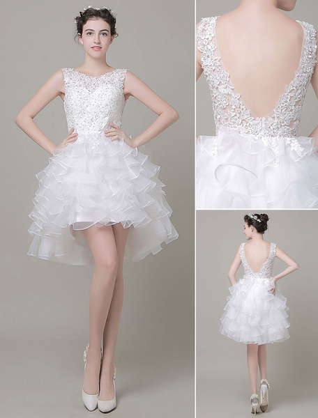 High-Low Short Wedding Dress Lace Applique Beading Organza Backless Homecoming Dress Milanoo фото
