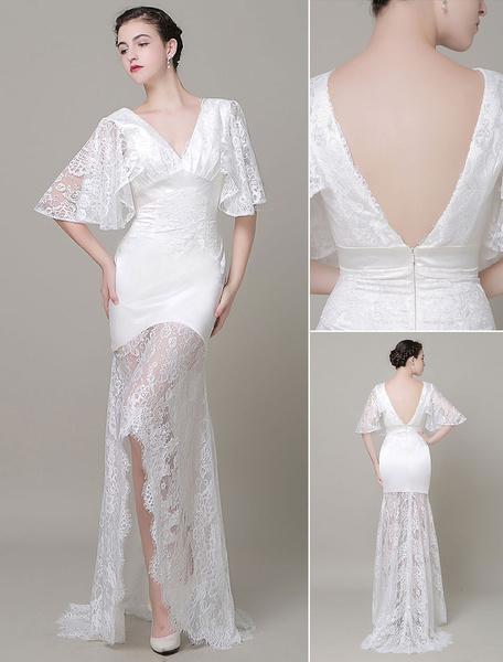 Boho Wedding Dress Lace Illusion Train Backless V-Neck Court Train High-Low Mermaid Evening Dress Mi фото