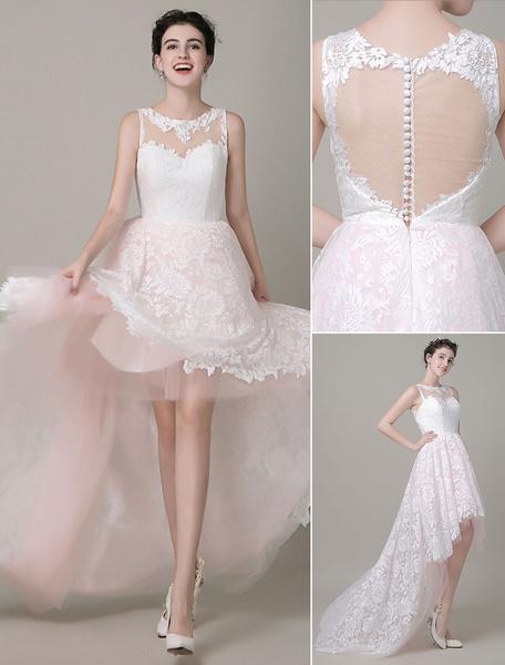High-Low Wedding Dress Lace Illusion Neckline Bridal Running Dress Tulle Prom Dress Milanoo фото