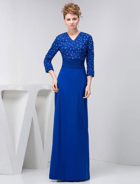 Long Sleeves Mother Of The Bride Dress V-Neck Floor-Length Pleats Sequin Sheath Chiffon Blue Evening фото