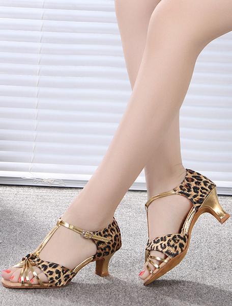 Ballroom Shoes Leopard Print T-strap Dance Shoes фото