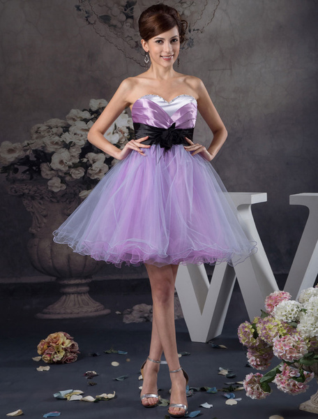 Tulle Homecoming Dress Strapless Sweetheart Satin Pleated Beading A-Line Short Prom Dress Backless C